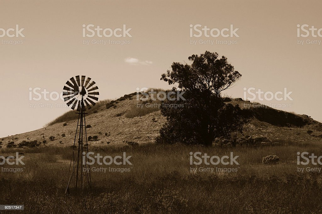 Sepia windmill royalty-free stock photo