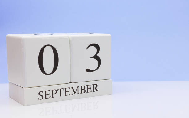 september 03st. day 3 of month, daily calendar on white table with reflection, with light blue background. autumn time, empty space for text - calendar date stock photos and pictures