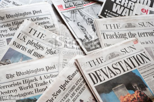 Baltimore, Maryland, USA, February 13, 2011: Collection of newspapers and headlines responding to the September 11, 2001 terrorist attack on the World Trade Center in New York and the Pentagon in Washington, D.C.