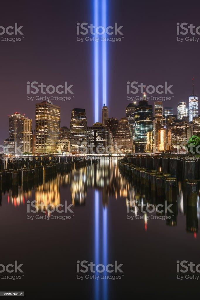 September 11th memorial seen from Brooklyn Bridge Park stock photo