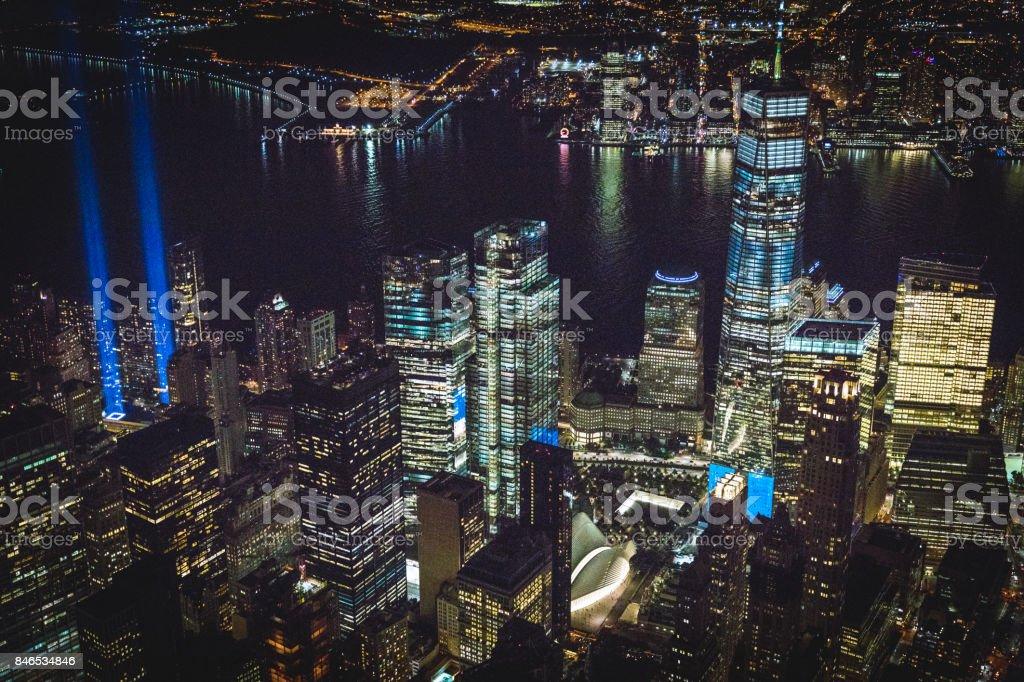 September 11th — Tribute in Light. New York, NY USA stock photo