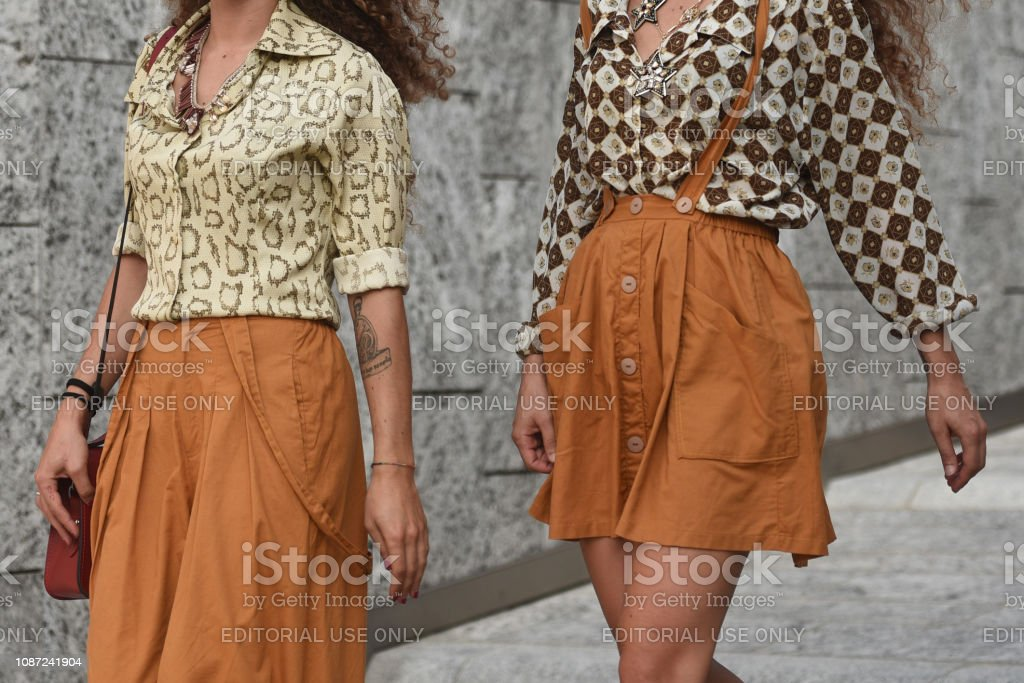 September 19, 2018: Milan, Italy - Street style outfits in detail during Milan Fashion Week  - MFWSS19 stock photo