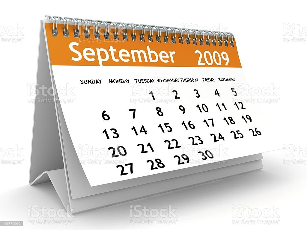 September 2009 - Orange Calendar series royalty-free stock photo