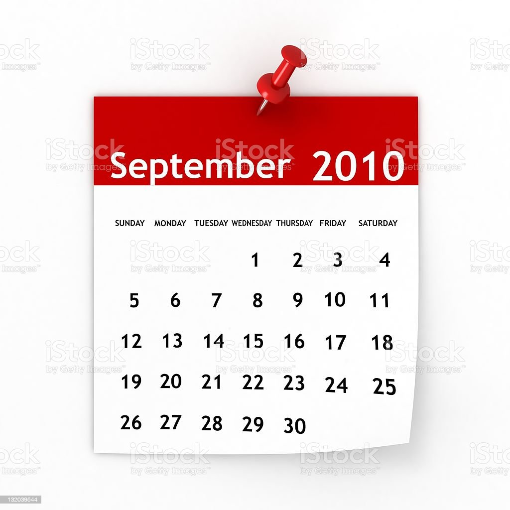 September 2010 - Calendar series royalty-free stock photo