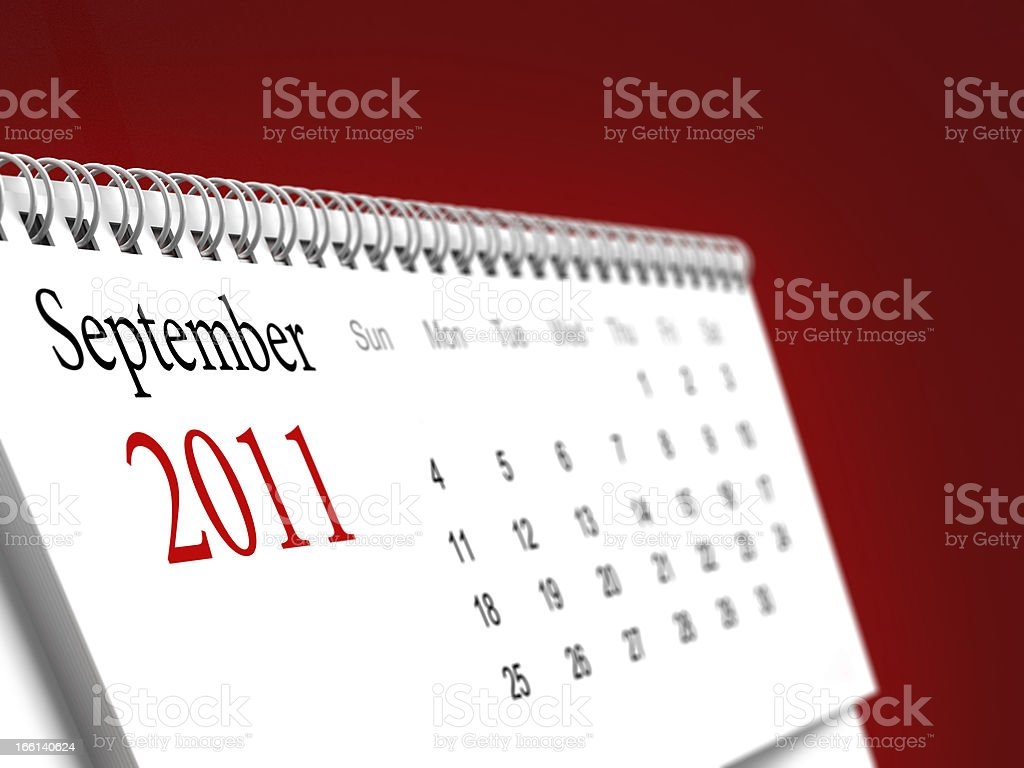 September 2011 calendar stock photo