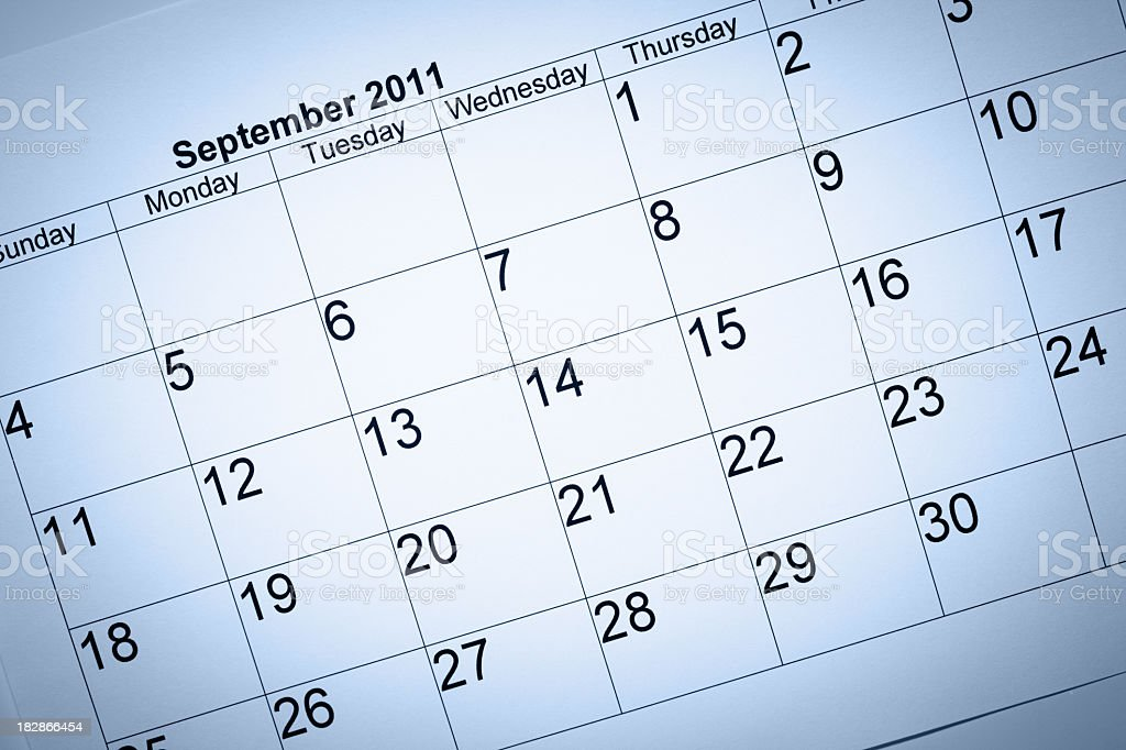 September 2011 calendar royalty-free stock photo