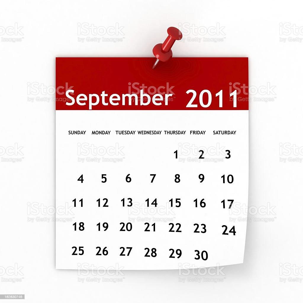September 2011 - Calendar series royalty-free stock photo