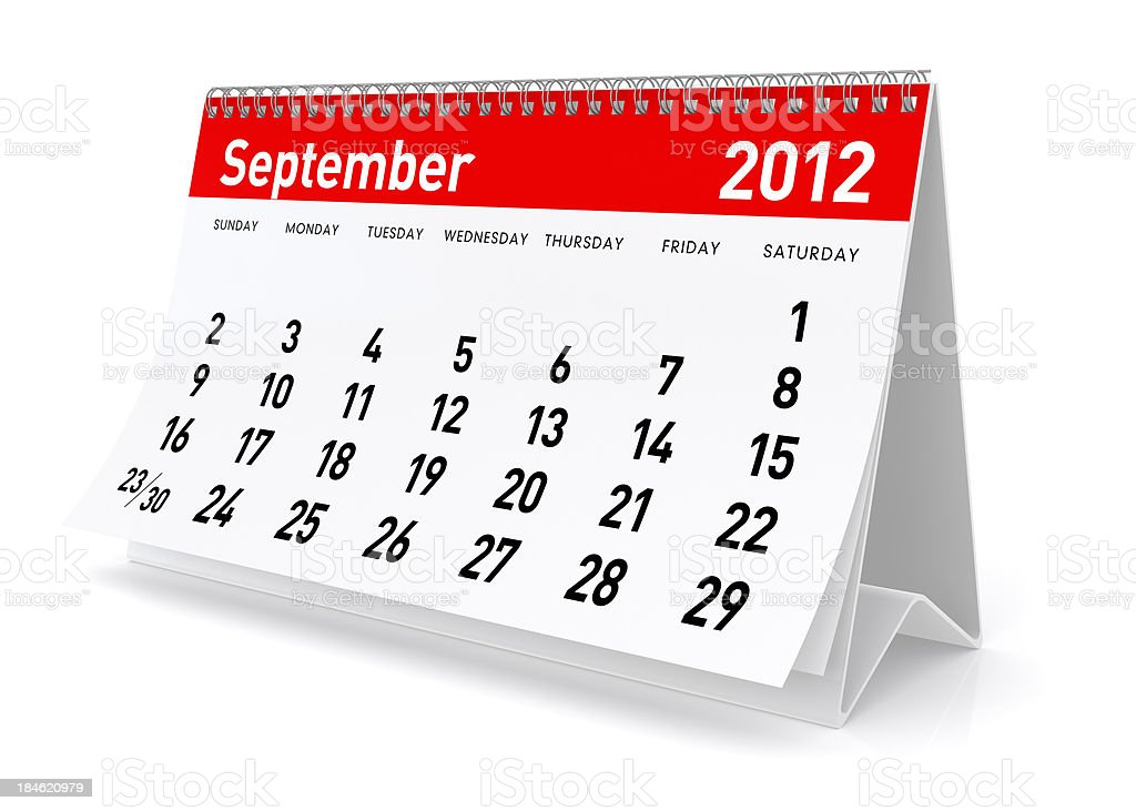 September 2012 - Calendar royalty-free stock photo