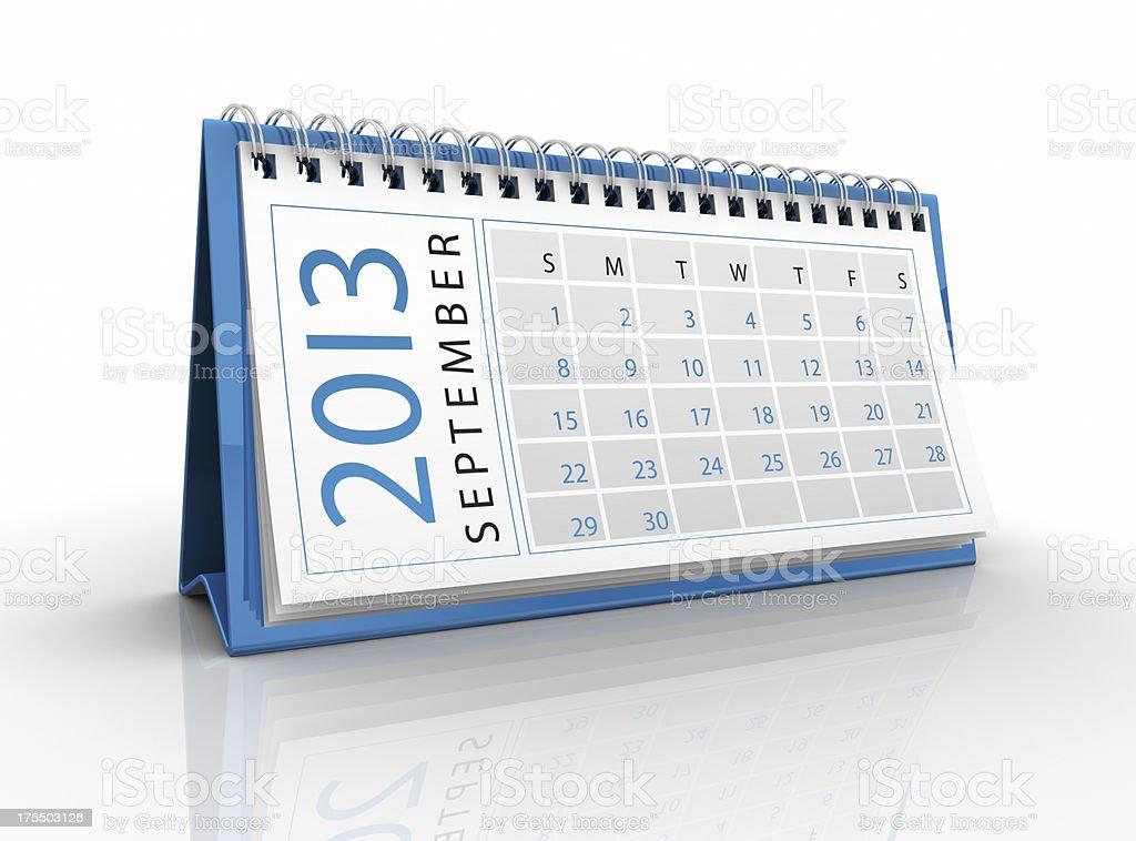 September 2013 calendar royalty-free stock photo