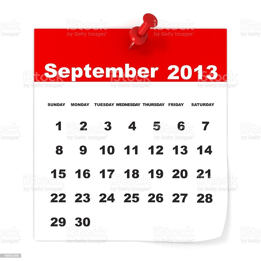 September 2013 - Calendar series royalty-free stock photo