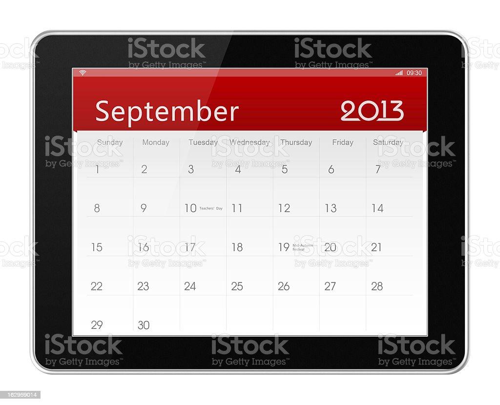 September 2013 Calender on digital tablet royalty-free stock photo