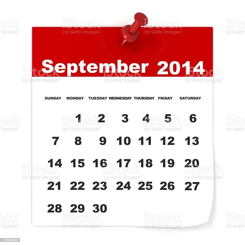 September 2014 - Calendar series royalty-free stock photo