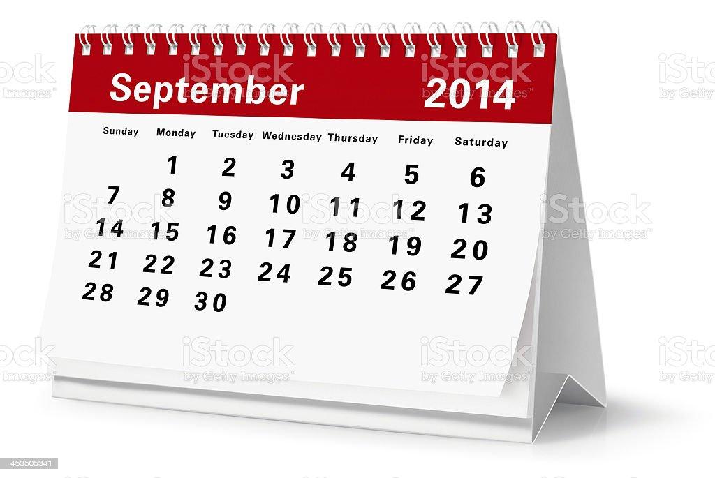 September - 2014 Desktop Calendar (Clipping Path) royalty-free stock photo
