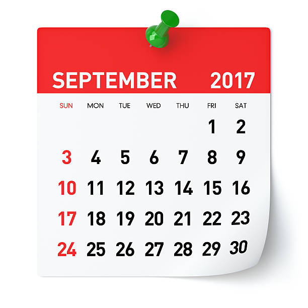 september 2017 - calendar - september stock photos and pictures