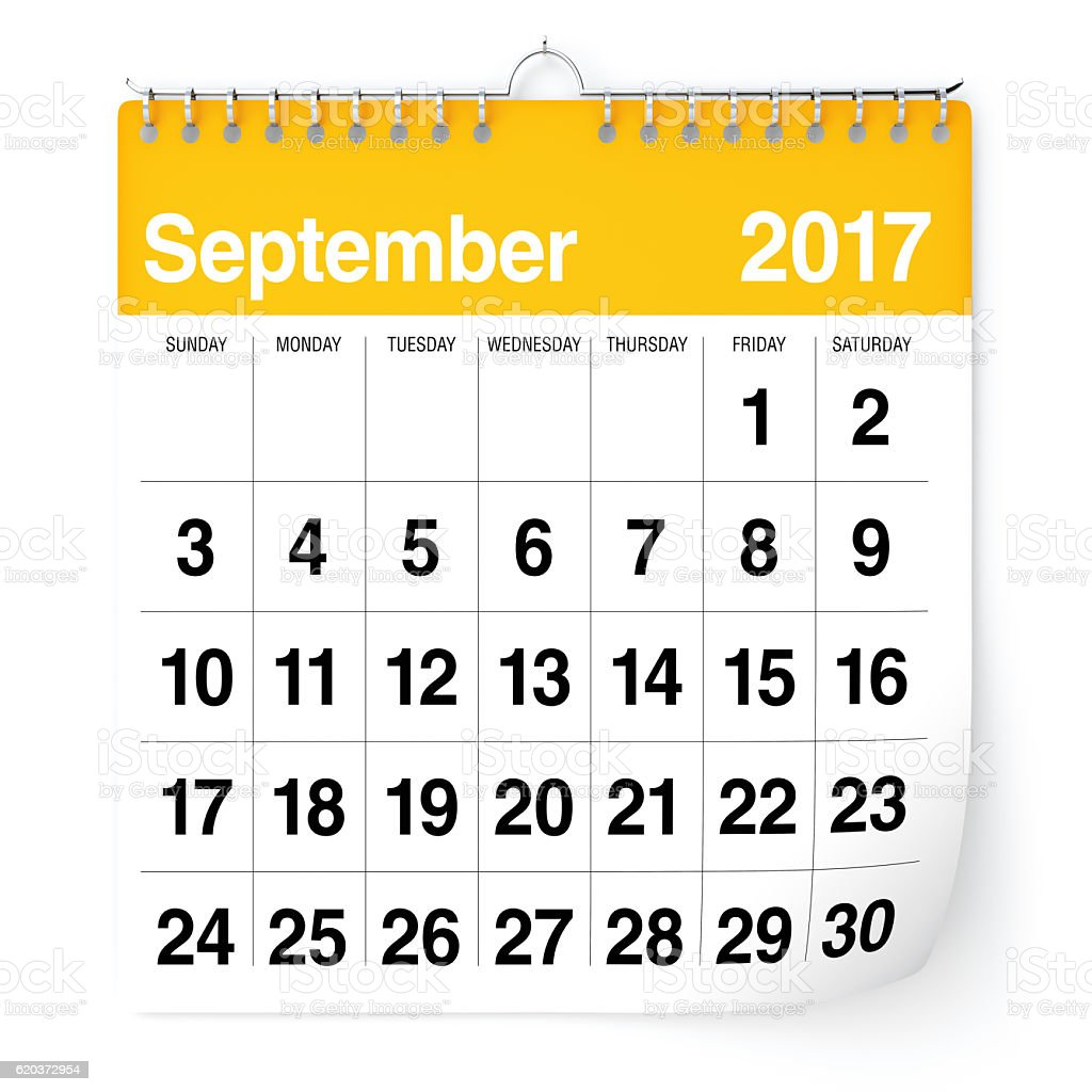 Kalendarz - września 2017 r. zbiór zdjęć royalty-free