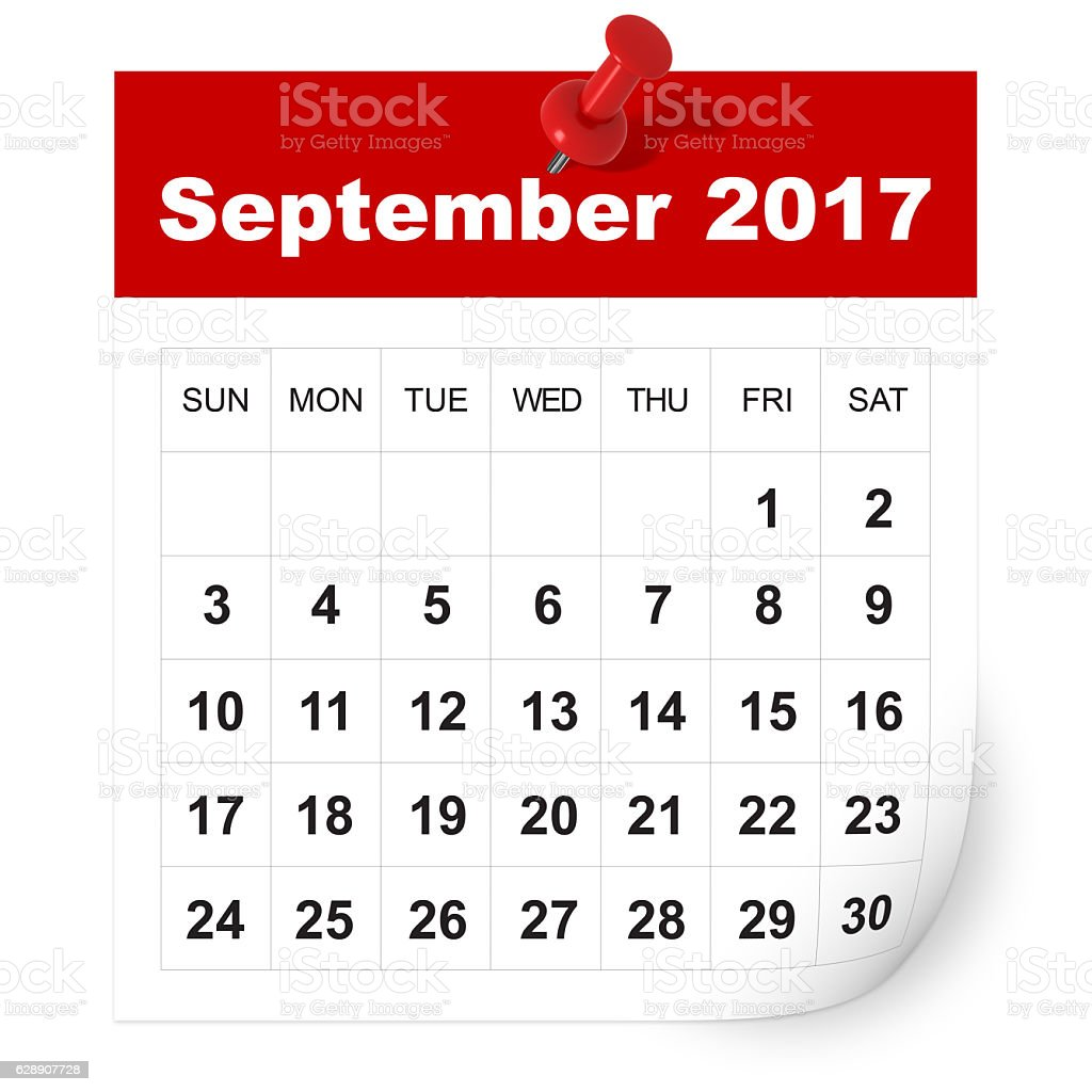 September 2017 calendar stock photo