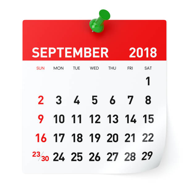september 2018 - calendar - september stock photos and pictures