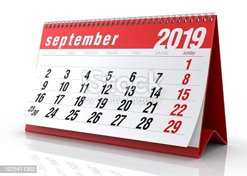 istock September 2019 Calendar. 1025411302