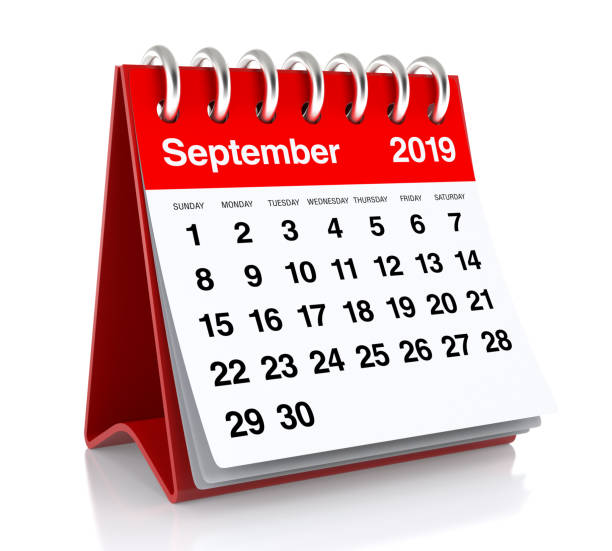 september 2019 calendar. - september stock photos and pictures