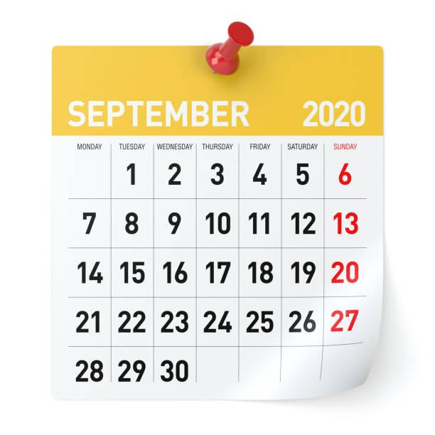 September 2020  -Calendar. Isolated on White Background. 3D Illustration stock photo
