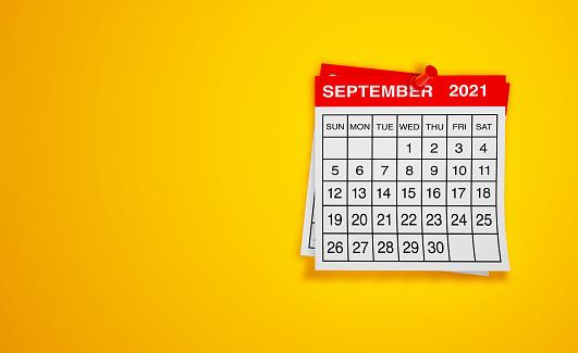 September 2021 calendar on yellow background