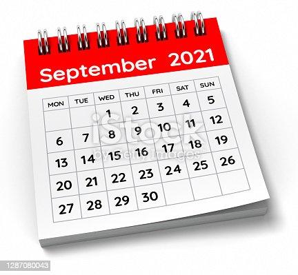 September 2021 Calendar. 3D Render.