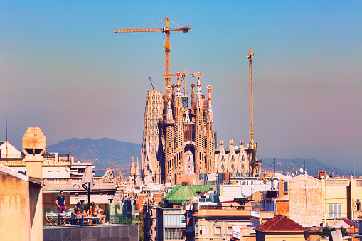 BARCELONA, SPAIN - September 28th, 2018: View to Sagrada Familia church, world-famous Gaudi architectural masterpiece still under construction