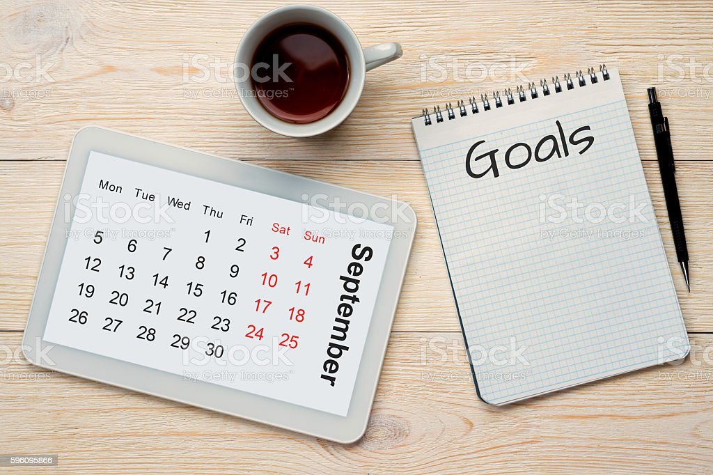 september calendar grid and goals royalty-free stock photo