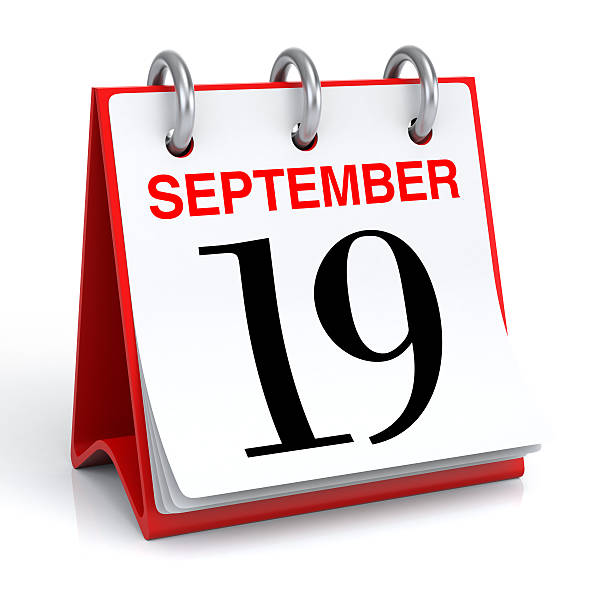september calendar - number 19 stock photos and pictures