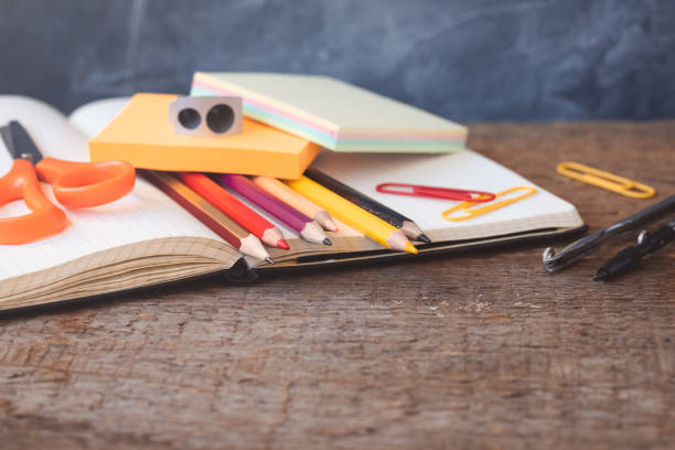 1 september concept postcard, teachers' day, back to school or college, supplies,flat lay - school supplies stock pictures, royalty-free photos & images
