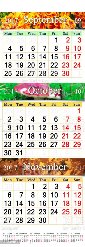 September October and November 2017 with colored pictures in form of calendar stock photo
