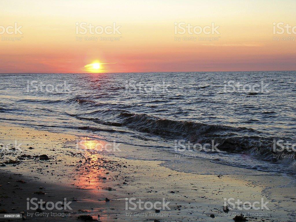 September sunset over ocean royalty-free stock photo