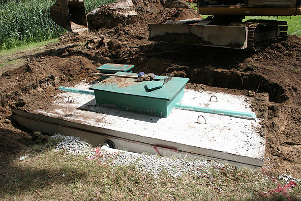 Septic system construction stock photo