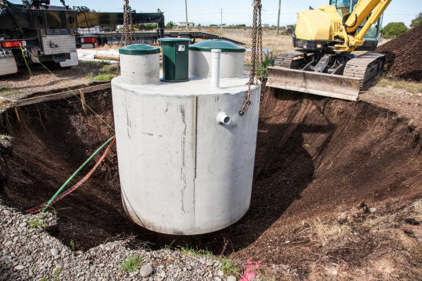 Septic Tank Being Installed stock photo