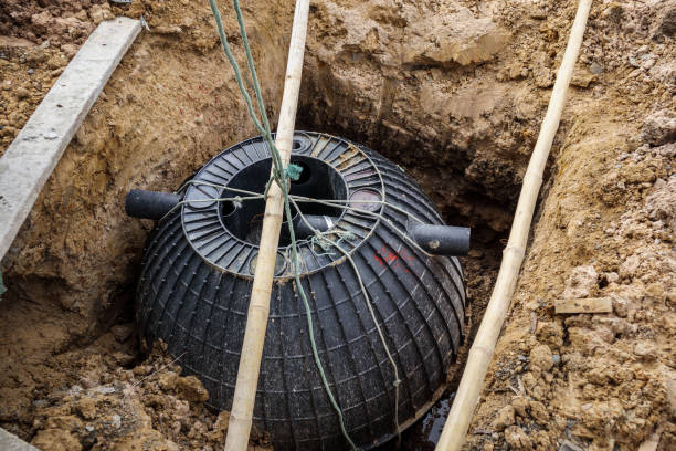 septic tank installation into the ground - poisonous stock pictures, royalty-free photos & images