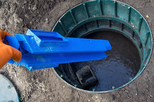 Septic Tank Outlet Filter Installation Stock Photo ...