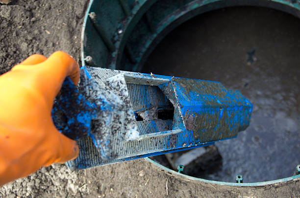 Septic Tank Outlet Filter Removal stock photo