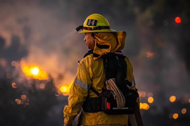 sepulveda bekken vuur - bosbrand stockfoto's en -beelden