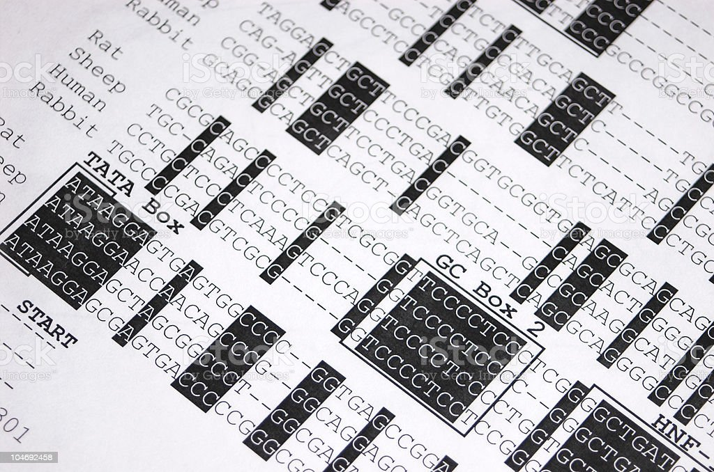 DNA sequence close-up stock photo