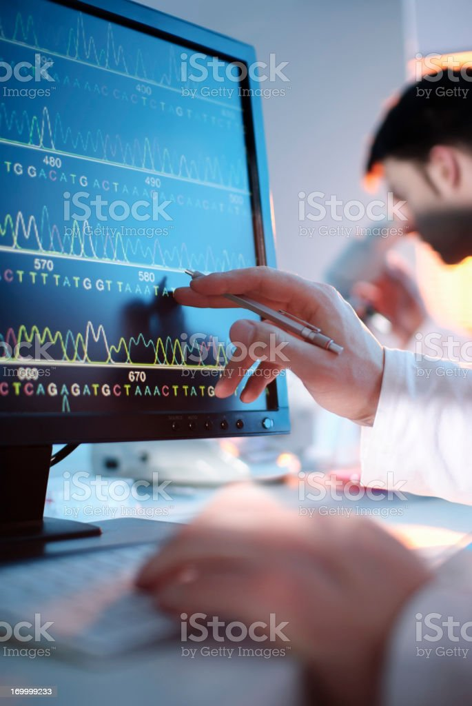 DNA sequence displayed on a computer screen royalty-free stock photo