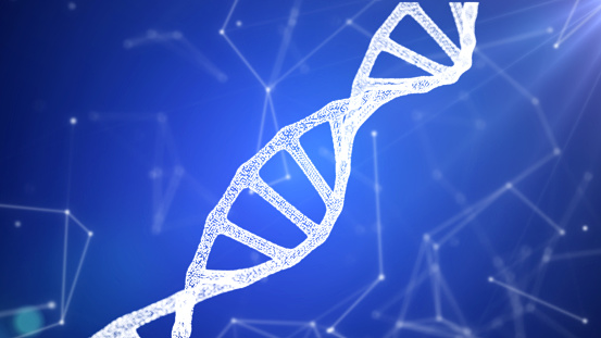 istock DNA sequence, DNA code structure with glow 1075846836