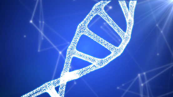 istock DNA sequence, DNA code structure with glow 1075846838