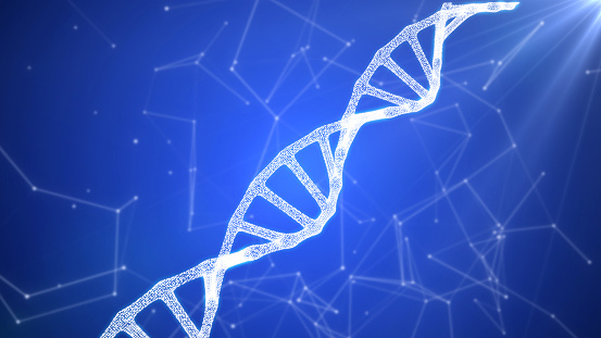 istock DNA sequence, DNA code structure with glow 1075846840