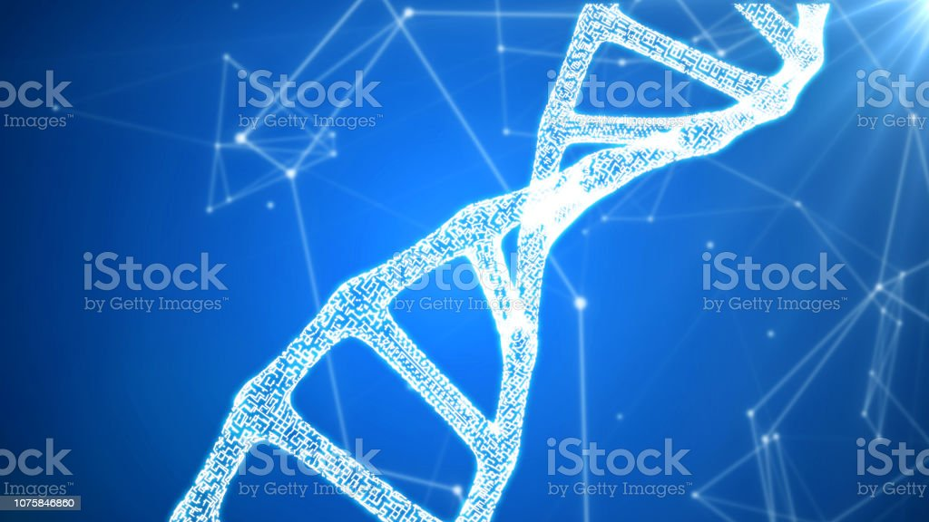 DNA sequence, DNA code structure with glow stock photo