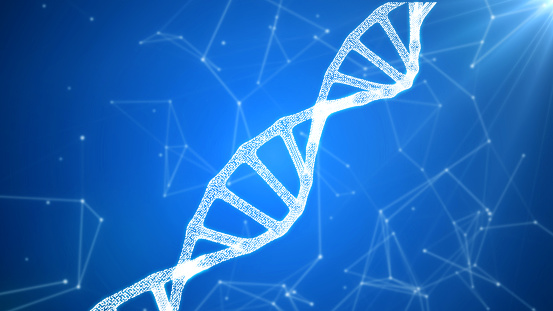 istock DNA sequence, DNA code structure with glow 1075846870