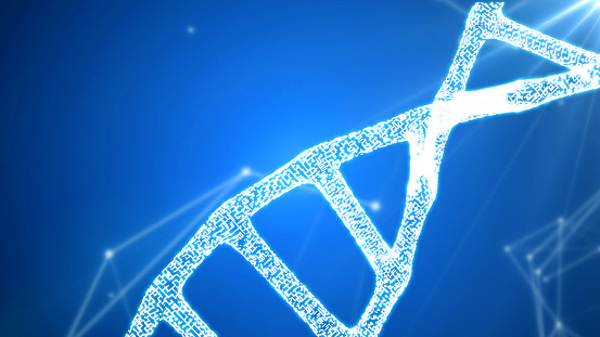 istock DNA sequence, DNA code structure with glow 1075846880