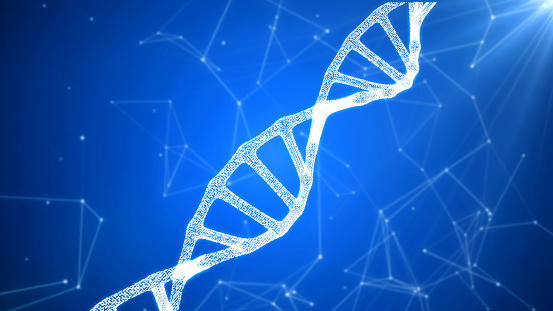 istock DNA sequence, DNA code structure with glow 1075846894