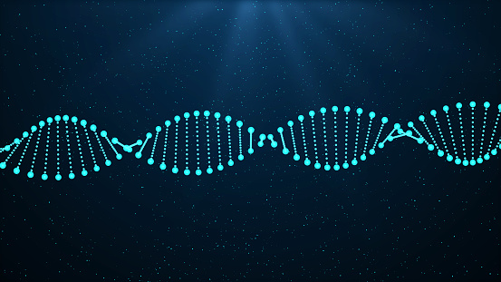 istock DNA sequence, DNA code structure with glow 1132176497