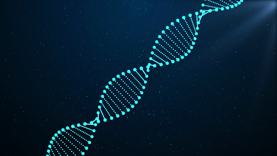 istock DNA sequence, DNA code structure with glow 1132176498