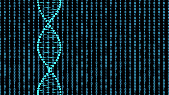 istock DNA sequence, DNA code structure with glow 1132398734